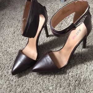 Just fab brown heels with ankle strap